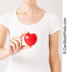 coeur, femme, mains