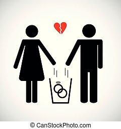 coeur, femme, pictogramme, homme, déchets ménagers, jets, icône