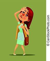 coeur, femme, plat, jeune, illustration, vecteur, attack., avoir, dessin animé