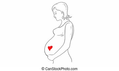 coeur, femme, pregnant, silhouette, stylisé, mère, soin, icône