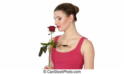 coeur, femme, rouge lèvres, rose, tenue, rouges