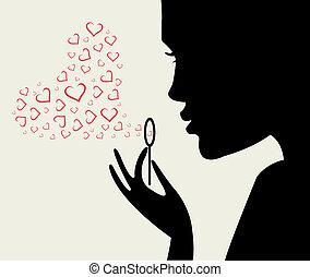 coeur, femme, silhouette