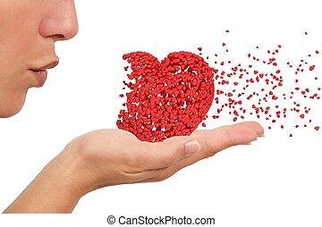 coeur, femme, souffler