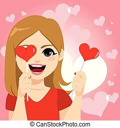 coeur, femme, sucette, heureux
