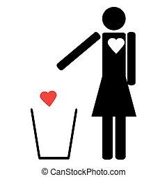coeur, femme, ton, déchets ménagers, jets