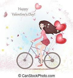 coeur, femme, vélo, happ, jeune, air, balloons., rouges, heureux