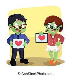 coeur, femme, zombi, tampon, tenue, homme affaires