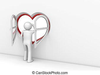 coeur, fenêtre, 2, observateur