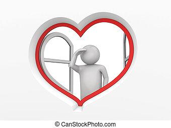 coeur, fenêtre, 3, observateur