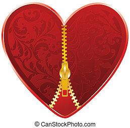 coeur, fermeture éclair, rouges, doré