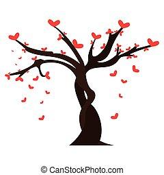coeur, feuilles, arbre, formé