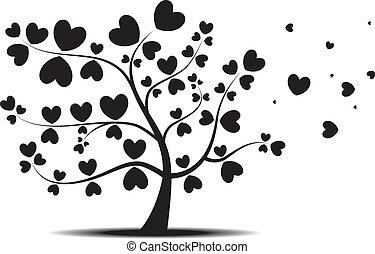 coeur, feuilles, arbre, rouges