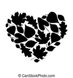 coeur, feuilles, divers, silhouette