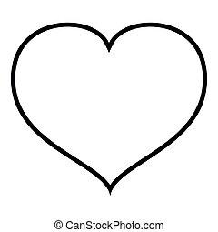 coeur, fin, contour, couleur, illustration, vecteur, noir, icône
