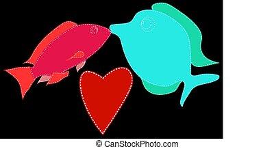 coeur, fish, bleu, point, love., deux, suivant, arrière-plan., vecteur, noir, baiser, petit, blanc, marin, rouges, illustration.