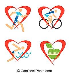 coeur, fitness, santé, icônes