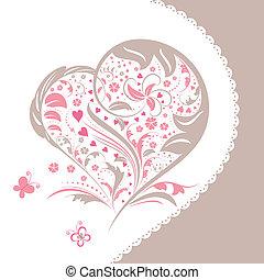 coeur, fleur, forme abstraite, invitation, carte