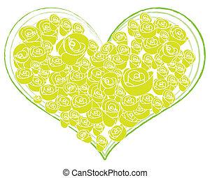 coeur, fleur, rose, formé