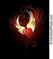 coeur, fleuret, ailes