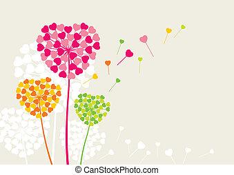 coeur, fleurs, amour, aimer