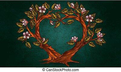coeur, fleurs, arbres, illustration, formé