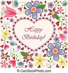coeur, fleurs, carte anniversaire, heureux