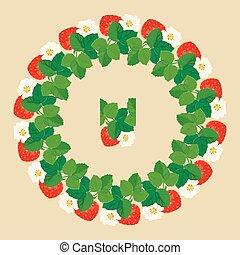 coeur, fleurs, cercle, formes, fraises, ornement