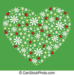 coeur, fleurs