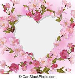 coeur, fleurs, fond, printemps