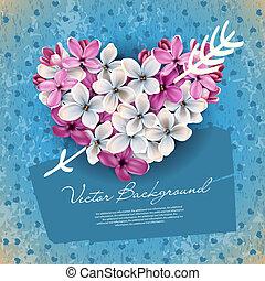 coeur, fleurs, lilas