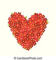 coeur, fleurs, rouges, fait