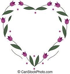 coeur, fleurs, ton, arrière-plan., cadre, salutation, conception, tulipe, vecteur, image, date, blanc, sauver, cartes