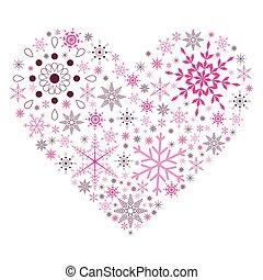 coeur, flocon neige