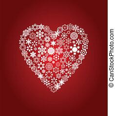 coeur, flocons neige, illustration, arrière-plan., vecteur, blanc rouge