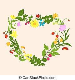 coeur, floral, cadre, fleurs, baies