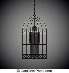 coeur, fond foncé, cage, rouges, homme