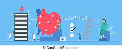 coeur, fond, jeûne, tachycardie, maladie, response., signal, vecteur, cardiologie, illustration., appelé, arrhythmia., problème, bleu, périodique, impulsion