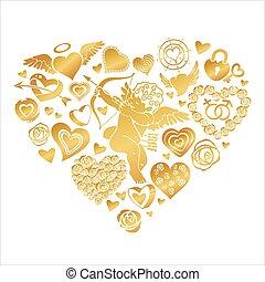 coeur, fond, valentine, clip-art, grand, sur, cupidon, salutation, illustration, consister, fleurs, serrures, vecteur, carte, cœurs, petit, blanc, keys., rue., jour