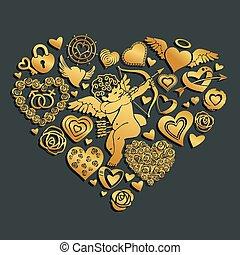 coeur, fond, valentine, grand, sur, cupidon, salutation, illustration, consister, fleurs, serrures, vecteur, carte, cœurs, sombre, petit, keys., rue., jour