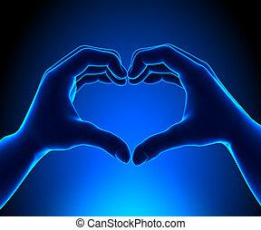 coeur, Formé, mains
