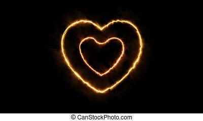 coeur, format, brûler, trois, png, transparence, canal alpha