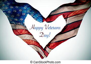 coeur, former, drapeau usa, texte, mains, jour vétérans, heureux