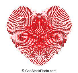 coeur, formulaire, empreinte doigt