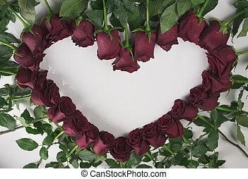 coeur, formulaire, gouttelettes, cadre, eau, roses, fond, blanc rouge