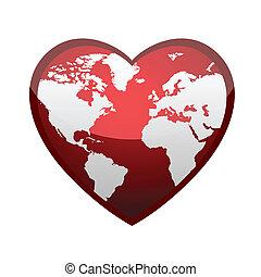 coeur, formulaire, la terre