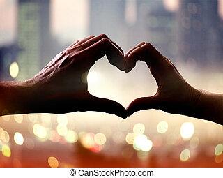 coeur, formulaire, mains