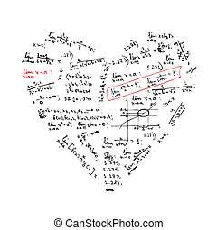 coeur, formules, forme, conception, ton, math