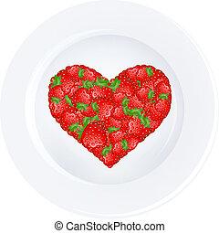 coeur, fraise, plaque