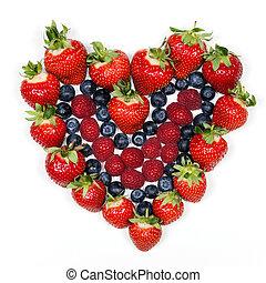coeur, fruit, rouges