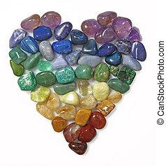 coeur, gemme, formé, utilisation, tumbled, pierres